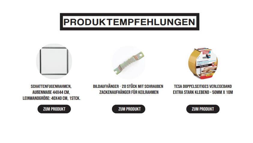 Beispiel Produktempfehlungen aus dem Acrylic Pouring 1 x 1 E-Book